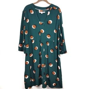 Boden | Shift Dress Teal Long Sleeve Dot Pattern